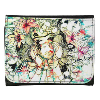 Tropical floral pink lovely girl illustration leather wallets