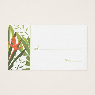 Tropical Floral Place Card - Green and Orange