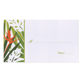 Tropical Floral Place Card - Green and Orange Business Card