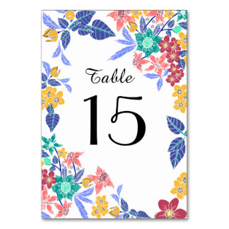 Tropical floral pretty bright table number