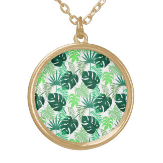 Tropical Floral Print Gold Finish Round Necklace