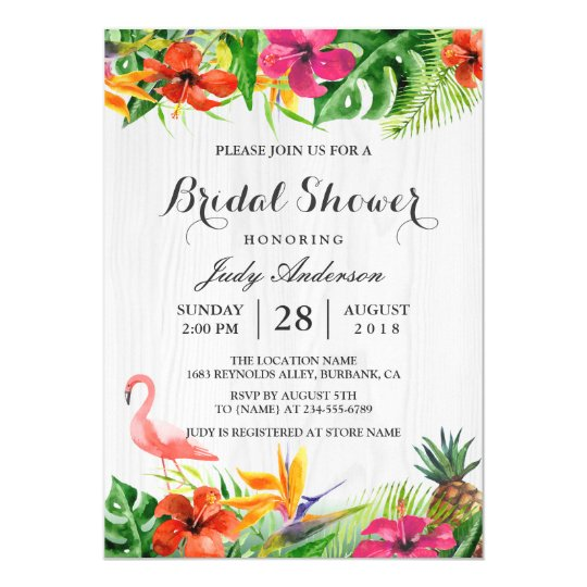 Tropical Floral Rustic Wood Flamingo Bridal Shower Card