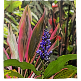 TROPICAL/FLORAL SHOWER CURTAIN (PINK,GREEN.PURPLE)