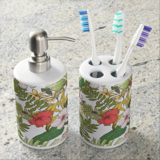 Tropical Floral Soap Dispenser And Toothbrush Holder
