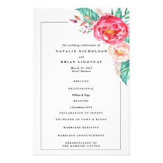 Tropical Floral Summer Wedding Invitations Flyer