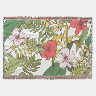 Tropical Floral Throw Blanket