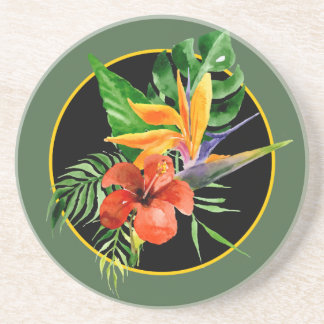 Tropical Floral Watercolor Bird of Paradise Coasters