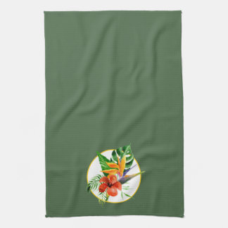 Tropical Floral Watercolor Bird of Paradise Hand Towels