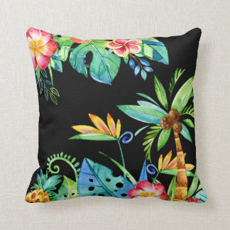 Tropical Floral Watercolor Black Cushion