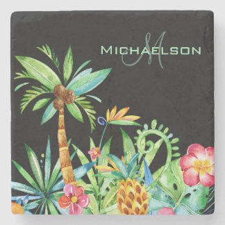 Tropical Floral Watercolor Black Stone Coaster