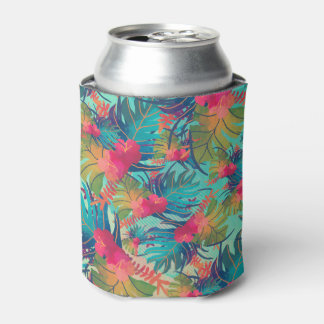 Tropical Floral Watercolor Can Cooler