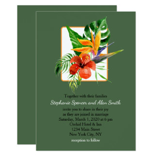 Tropical Floral Watercolor Green Wedding 13 Cm X 18 Cm Invitation Card