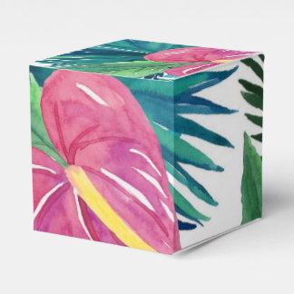 Tropical Floral Watercolor Print Favor Boxes