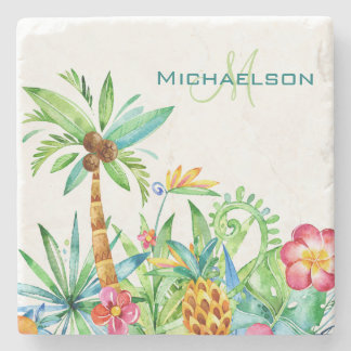 Tropical Floral Watercolor Stone Coaster