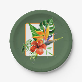 Tropical Floral Watercolor Wedding Paper Plate
