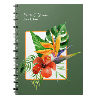Tropical Floral Watercolor Wedding Spiral Note Books