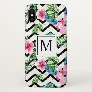 Tropical Floral Wedding Monogram | iPhone X Case