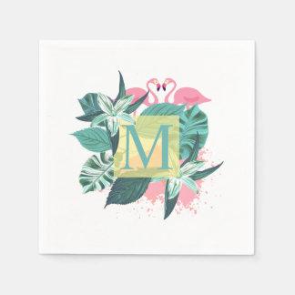 Tropical Floral Wedding Monogram | Napkin Paper Napkin
