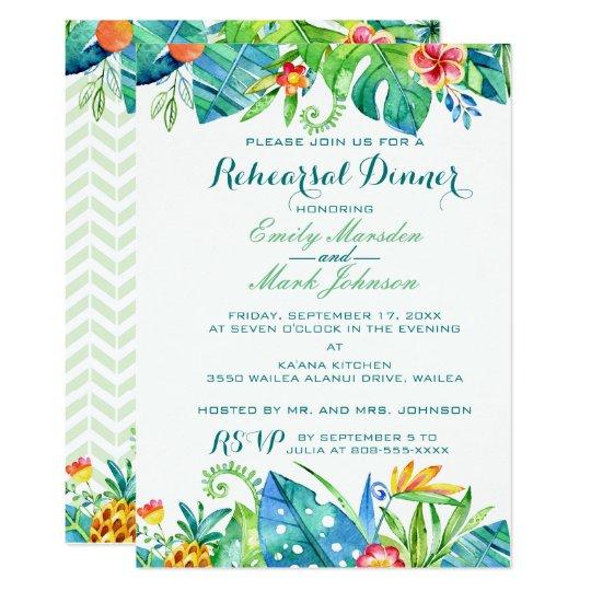 Tropical Floral Wedding Rehearsal Invitation