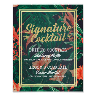 Tropical Floral Wedding Signature Drink Menu Poster