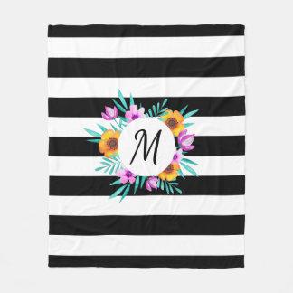 Tropical Floral Wreath Black Stripes Monogram Fleece Blanket