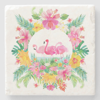 Tropical Floral Wreath & Pink Flamingos Stone Beverage Coaster