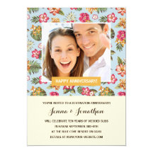 Tropical Florals | Photo Anniversary Party 5x7 Paper Invitation Card