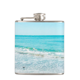 Tropical Florida Beach Sand Ocean Waves Sandpiper Hip Flask