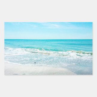 Tropical Florida Beach Sand Ocean Waves Sandpiper Rectangular Sticker