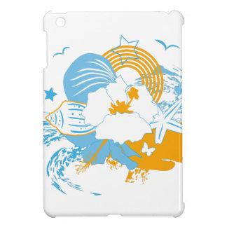 Tropical flower and seashell summer illustration iPad mini case