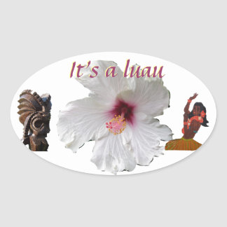 Tropical Flower and Tiki Oval Sticker