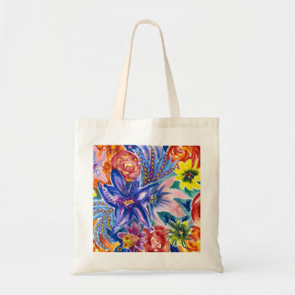 Tropical Flower Bouquet Watercolour Tote Bag