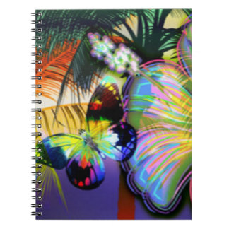 Tropical Flower Butterfly Spiral Note Books
