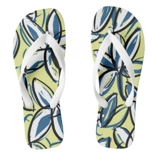 Tropical flower flip flops