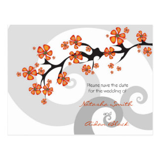 Tropical Flower Fusion Swirl Save Date Postcard