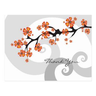 Tropical Flower Fusion Swirl Thank You Postcard