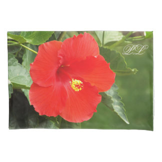 Tropical flower monogram pillowcase