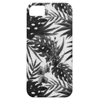 Tropical flower pattern black and white iPhone 5 cases