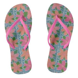 Tropical Flower Pattern Flip Flops