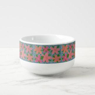 Tropical Flower Pattern Soup Bowl