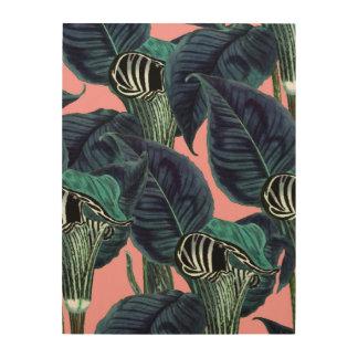 Tropical Flower Pattern Wood Print