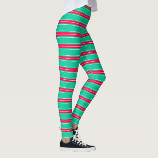 Tropical Flower Pink Sea Green and White Stripes Leggings
