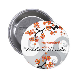 Tropical Flower Swirl Wedding Name Tag / Button