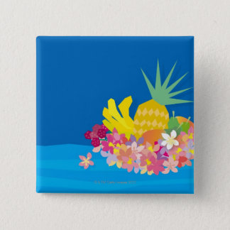 Tropical Flower Waves 15 Cm Square Badge