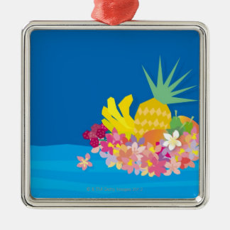 Tropical Flower Waves Christmas Ornament