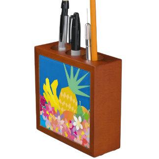 Tropical Flower Waves Desk Organiser