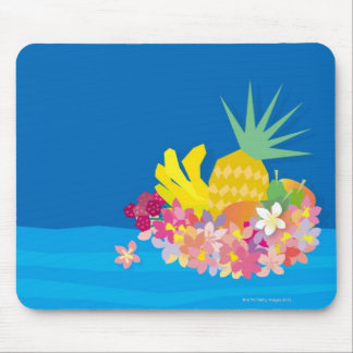 Tropical Flower Waves Mouse Mat
