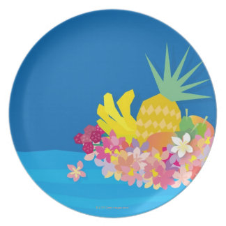 Tropical Flower Waves Plate