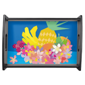 Tropical Flower Waves Serving Tray
