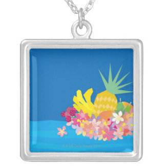 Tropical Flower Waves Silver Plated Necklace